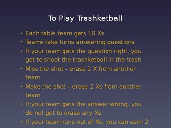 Trashketball Review Game PPT