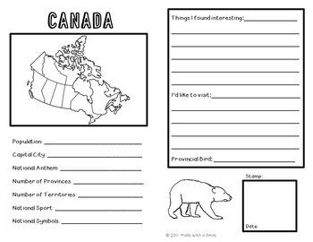 Travel Across Canada Passport Activity Set One - Passport