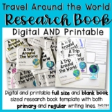Travel Around the World Research Book | Printable OR Digital Distance Learning