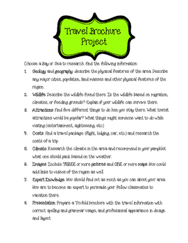 Travel Brochure Project and Rubric