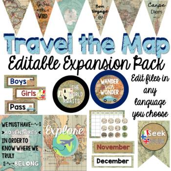 Travel Classroom Decor Editable Expansion Pack