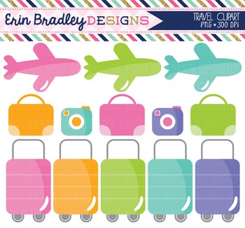 Travel Clipart - Airplane Luggage & Cameras
