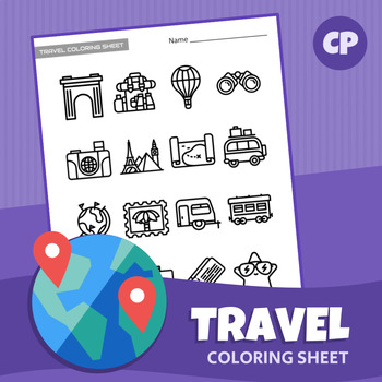 Travel Coloring Sheet   Printable PDF