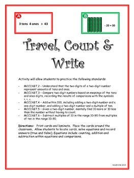 Travel, Count & Write Center Game