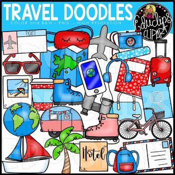 Travel Doodles Clip Art Set {Educlips Clipart}