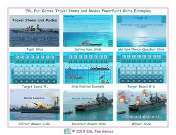 Travel Items and Modes English Battleship PowerPoint Game