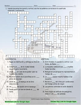 Travel Items and Modes Interactive Spanish Crossword-Google Apps