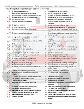 Travel Items and Modes Sentence Match Spanish Worksheet