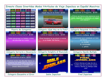 Travel Items and  Modes Spanish Jeopardy Game