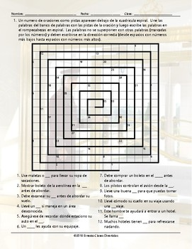 Travel Items and Modes Word Spiral Spanish Worksheet