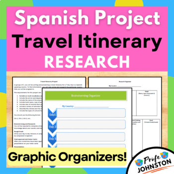travel itinerary project spanish by profe johnston tpt