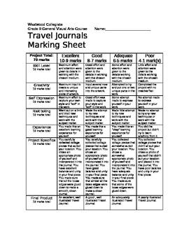 Travel Journals Marking Sheet