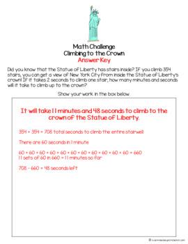 Travel & Landmark Math Challenge-FREE Math Fast Finisher, Center, Enrichment
