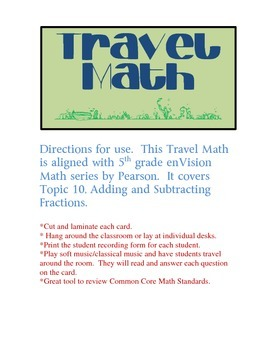 Travel Math - 5.NF.2 - Adding/Subtracting Mixed Numbers