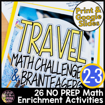 Travel Themed Math Activities 2nd-3rd Grade Landmark & Vacation Math Challenges