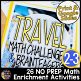 Math Challenges or Enrichments | Travel Theme Math Worksheets