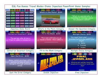 Travel Modes-Items Jeopardy PowerPoint Game