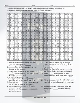 Travel Modes-Things Word Search Worksheet