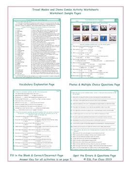 Travel Modes and Items Combo Activity Worksheets