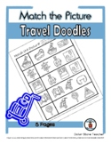 Travel Object Matching - Print, Answer & Color Worksheets