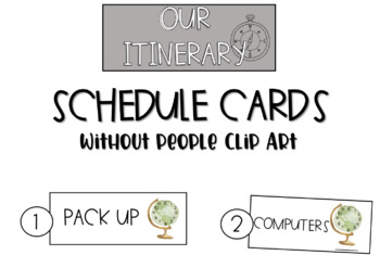 Travel Road Trip: Schedule Cards w/o Kid Clipart