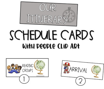 Travel Road Trip: Schedule Cards with Kid Clipart
