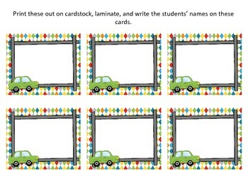 Travel, Roadtrip Theme Classroom Helper Cards