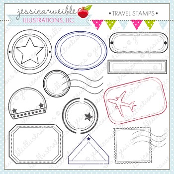 Travel Stamps Cute Digital Clipart, Passport Clip Art, Traveling Graphics