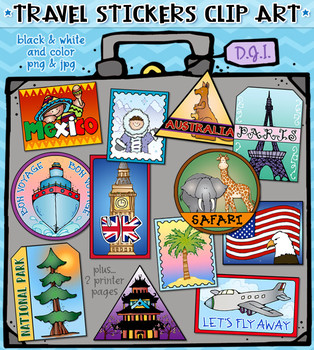 Travel Stickers Clip Art Download