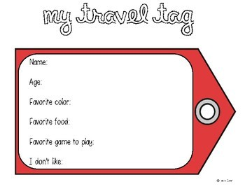 Travel Tags - Back to School/Beginning of the Year Activity