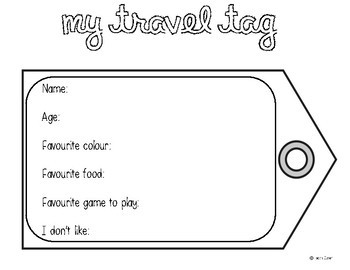 Travel Tags Activity - Back to School/Beginning of the Year Lesson