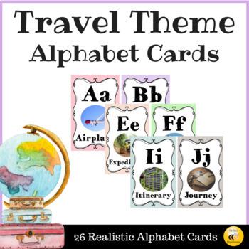 Travel Theme Alphabet Cards (Pastel Colors)