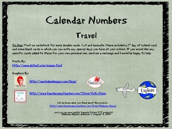 Travel Theme Calendar Numbers