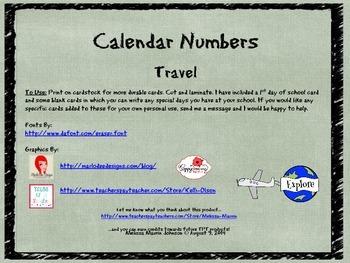 Travel Theme Calendar Numbers
