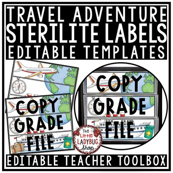 Travel Theme Classroom- Mailbox Labels 3 Sterlite Drawer Labels Editable