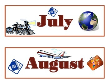 Travel Calendar Set! Travel Bulletin Board! Travel Theme! Travel Classroom!