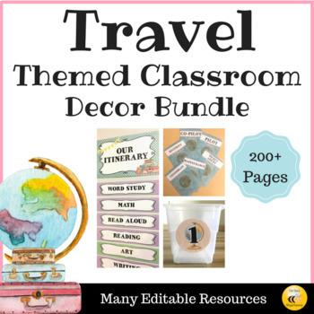 Travel Theme Classroom Decor & Resources Bundle {EDITABLE}