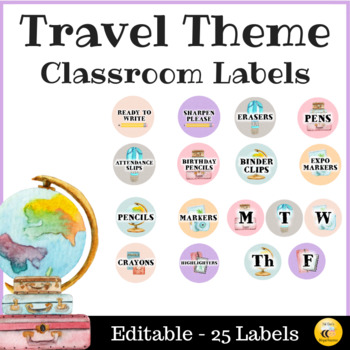 Travel Theme Classroom Labels - Editable
