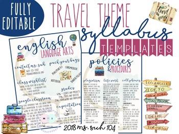 Travel Theme Infographic Syllabus: COMPLETELY EDITABLE