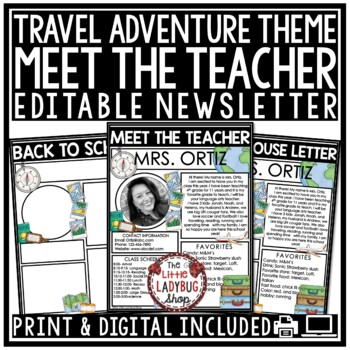 Meet The Teacher Letter- Travel Theme Meet The Teacher Template Editable