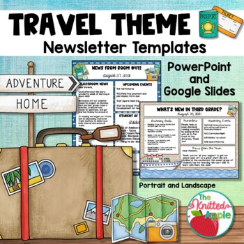 travel theme newsletter templates by the knitted apple tpt