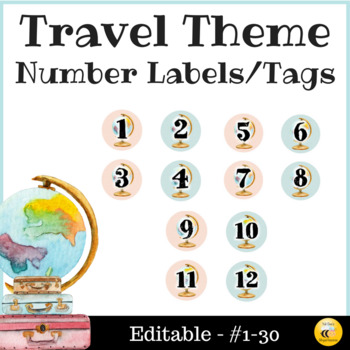 Travel Theme Number Labels/Tags - Editable