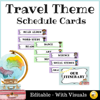 Travel Theme Schedule Cards - Editable