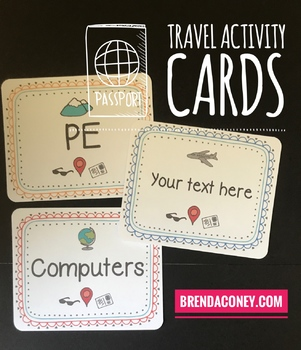 Travel Theme Specials / Activity Cards Editable