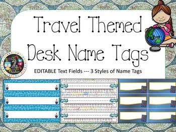 Travel Theme Student Desk Name Tags EDITABLE