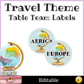 Travel Theme Table Team Labels - Editable