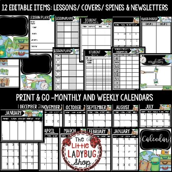 Travel Theme Teacher Binder Editable [Planner, Newsletter Template, & More]