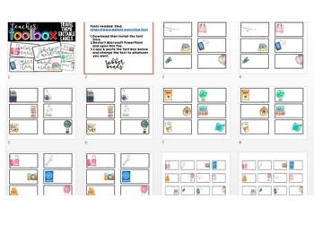 Travel Theme Teacher Toolbox Labels - EDITABLE