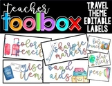 Teacher Toolbox / Supply Labels: TRAVEL WATERCOLOR THEME - EDITABLE