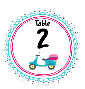 Travel Theme VESPAS Table / Group Signs